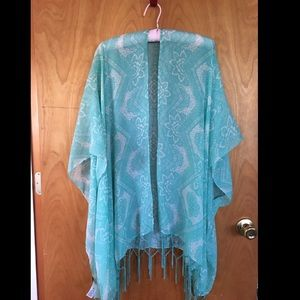 Turquoise Shawl with Mandala Pattern